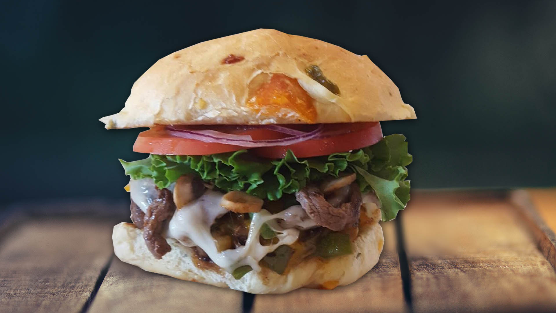 Philly Steak Cheese Burger